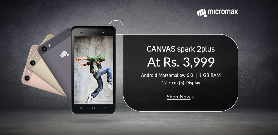 Top 10 Mobiles Under Rs 5000 in India, Micromax canvas spark2