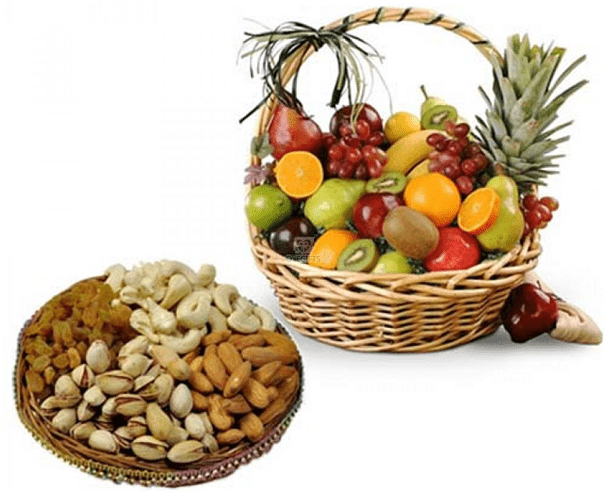 Fruits, Dry-Fruits And Flowers Basket